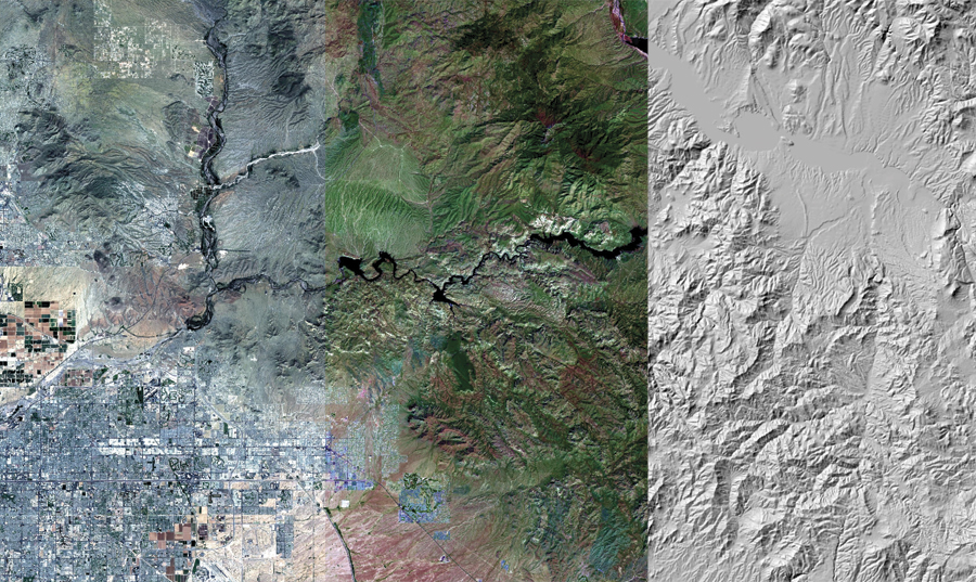 Sample Landsat 8 imagery. Operational Land Imager (OLI) Bands 4,3,2 (Natural Color); OLI Bands 6,5,4 (False Color); and HillShade. (Courtesy of USGS.)