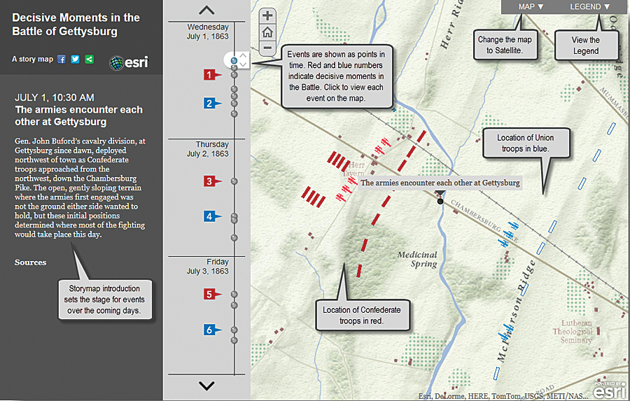 At Learn ArcGIS, students explore history by examining decisive moments in the Battle of Gettysburg during the American Civil War.