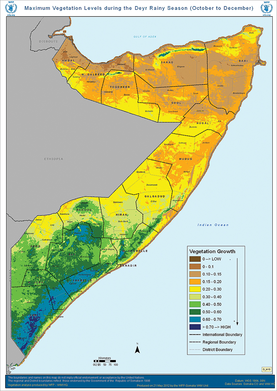 Maximum vegetation levels in Somalia during the Deyr rainy season from October through December.