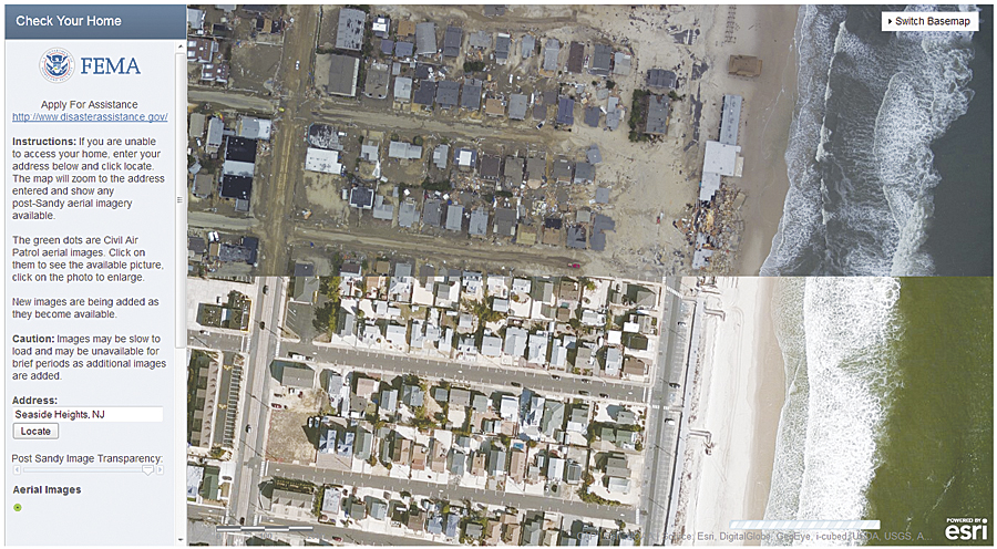 In the Check Your Home application, the transparency bar on the left allows comparison of pre- and post-Sandy imagery.