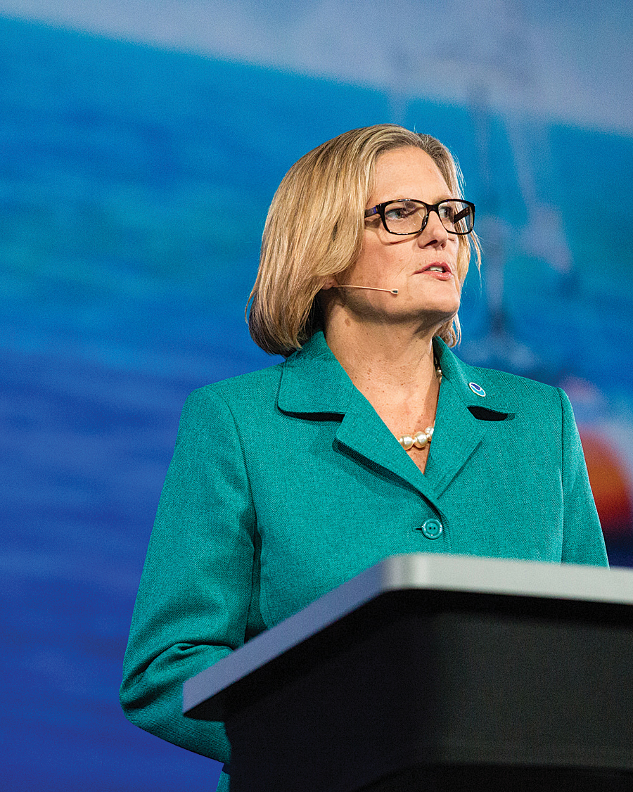 Former astronaut and the new National Oceanic and Atmospheric Administration (NOAA) administrator Kathryn D. Sullivan took center stage at the Plenary Session.