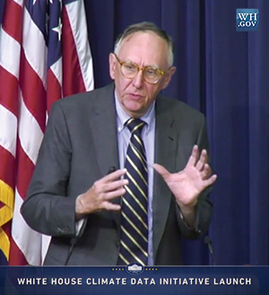 Jack Dangermond speaking at the Climate Data Initiative press conference at the White House, March 19, 2014.