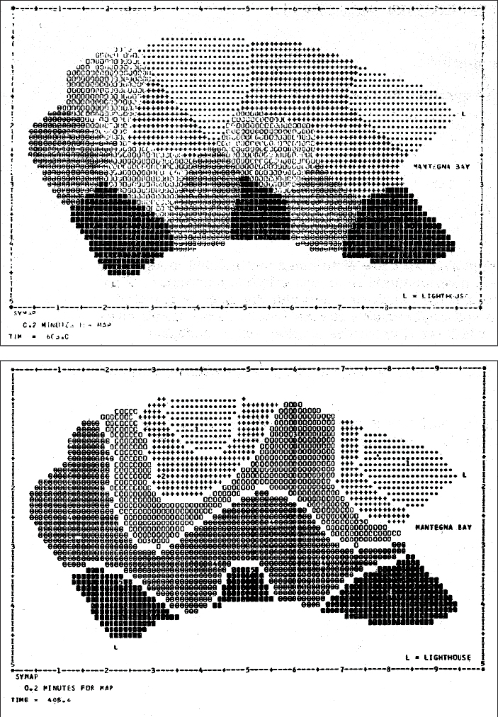 Figure 1. SYMAP Conformant map (top) and Contour map.