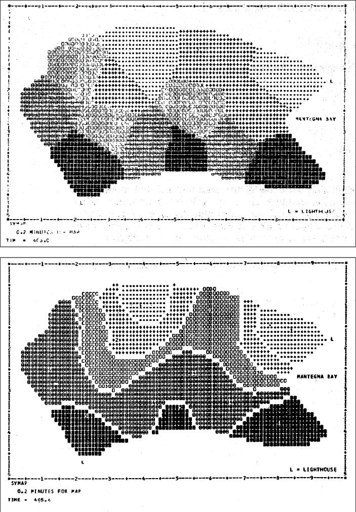 Figure 1. SYMAP Conformant map (top) and Contour map.