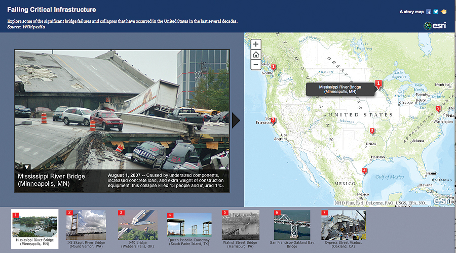 Details of the 2007 Mississippi River Bridge collapse in Minneapolis, Minnesota, are presented in the new Bridge Infrastructure Maps app, along with examples of other bridge collapses.