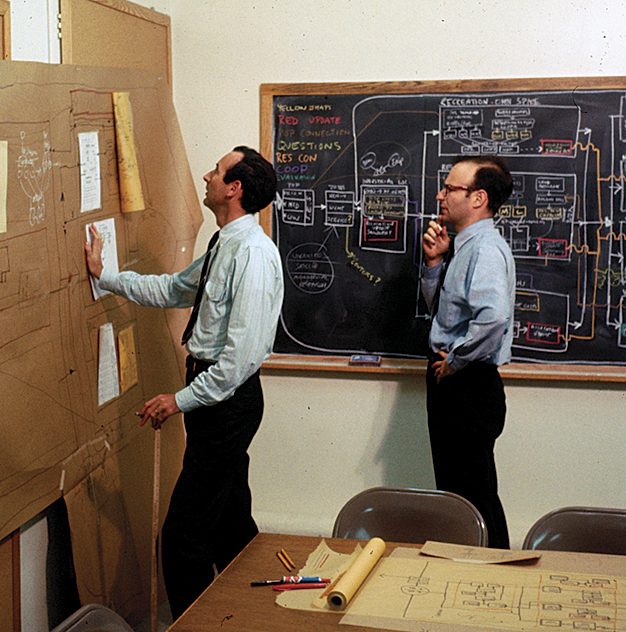 Figure 6. Peter Rogers (left) and Carl Steinitz at the Laboratory for Computer Graphics, Graduate School of Design, Harvard University, in 1967. Photographs of the process of working were taken only rarely, unfortunately.