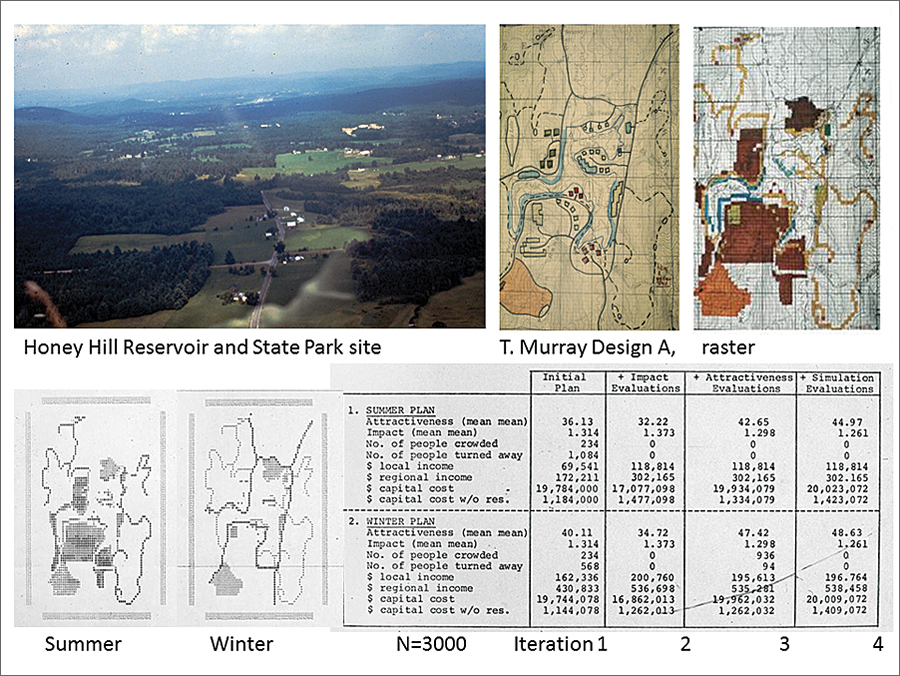 Figure 8. Top left: Aerial view of the site. Top right: Tim Murray's design. Bottom: Assessment of impacts of Murray's design.
