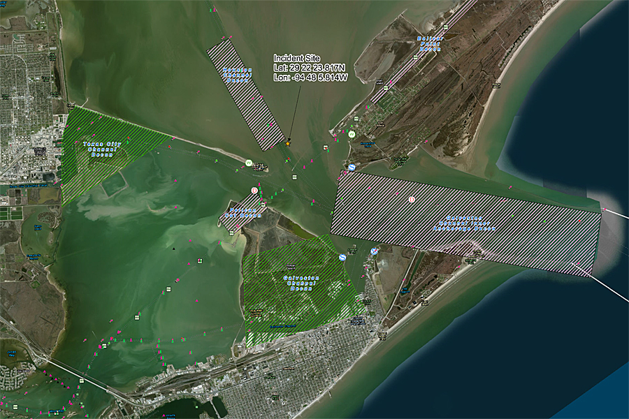 "This Texas City ""Y"" Spill Decontamination map depicts the ship channel impacted by the spill event. Cleanup operations are ongoing inside this area near Galveston, Texas."
