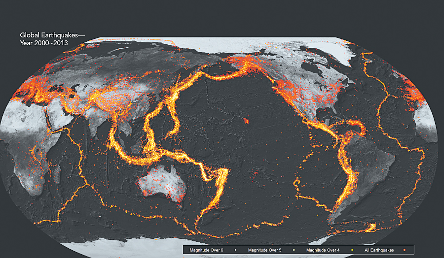 "Maps help humans understand big data: Earthquakes primarily occur along tectonic plate boundaries with many events happening in proximal locations. Visualizing these overlapping events is a challenge that is met using a ""glow"" effect obtained with multilayer symbols and varying levels of transparency, an approach developed by John Nelson of UDV Solutions. Applying this effect in ArcGIS allows the thousands of earthquakes to offer us a vivid depiction of the global pattern of these explosive events."