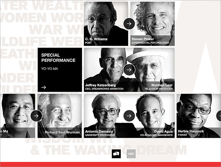 More than 30 pairings of brilliant minds from the WWW Conference can be viewed through the WWW Conference app for iPad and iPad Mini, now available in iTunes. The app is free for Esri UC attendees or can be purchased for US$3.99. (Image courtesy of Wurman Inc.; Photos by Jon Kamen.)
