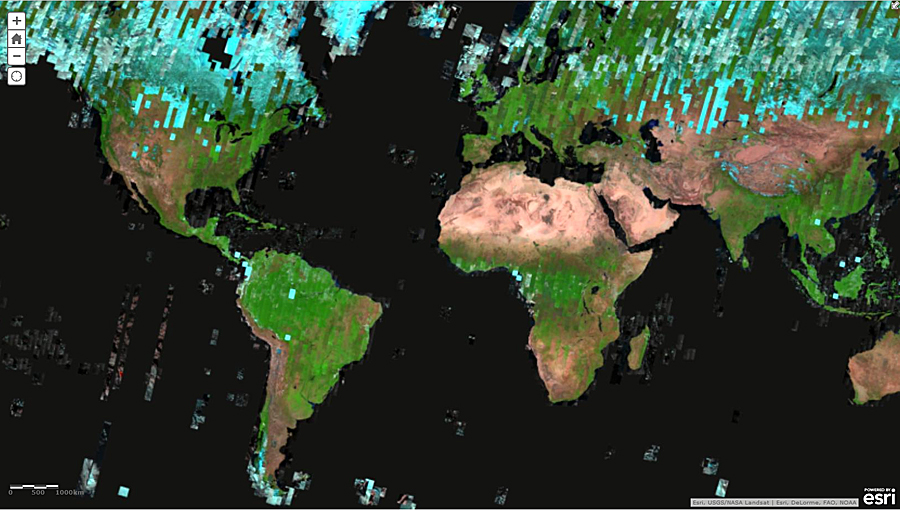 Mosaic of the latest, most cloud-free (but not snow-free) Landsat 8 imagery covering the globe rendered using three different infrared bands 7,6,5.