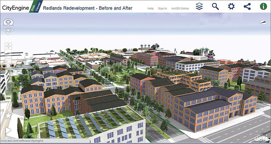 Web scenes provide 3D side-by-side views and fly-throughs of city models via WebGL browsers.