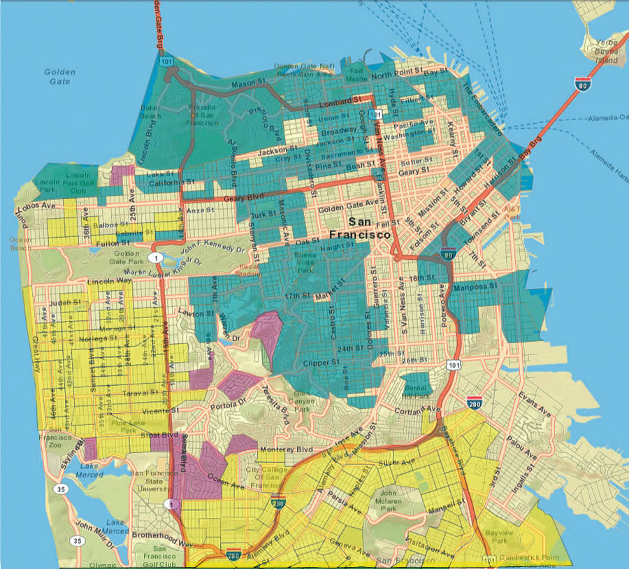 Located in San Francisco's District 7, Connoisseurs had the highest density of program participation (shown in purple) and was identified as the primary segmentation type to respond to direct marketing.