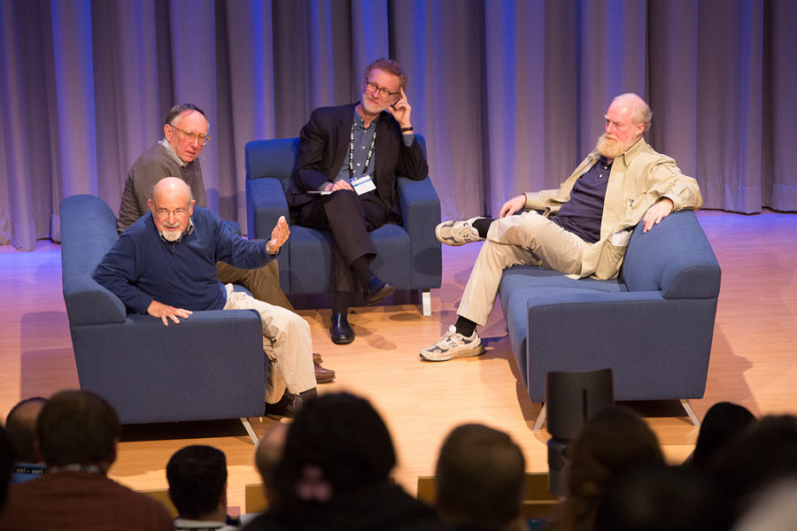 Carl Steinitz (left), Jack Dangermond, Thomas Fisher, and Bran Ferren kick off the Geodesign Summit with a conversation about the merits and drawbacks of a 250-year design plan.