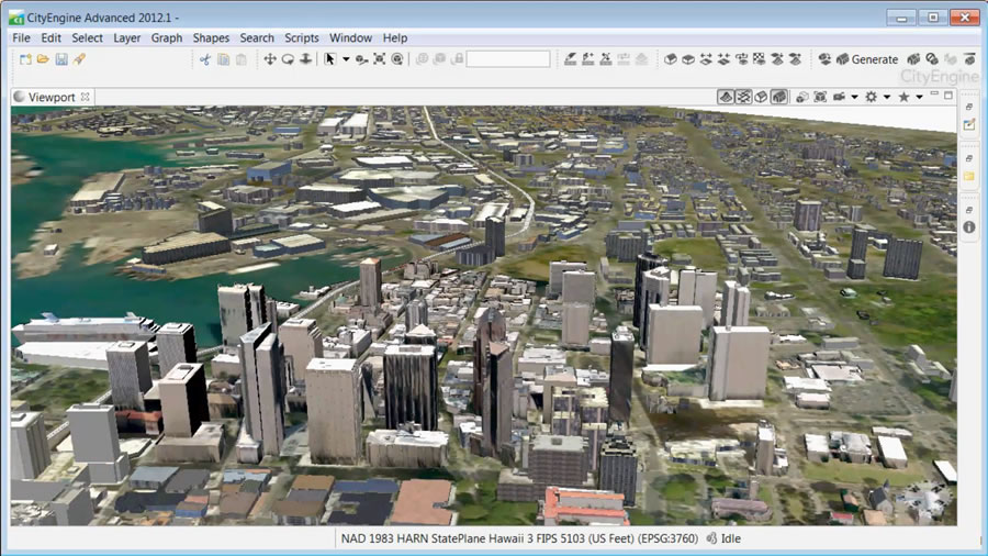 A 3D city model of Honolulu constructed from footprints and some sparse 3D models in Esri CityEngine.