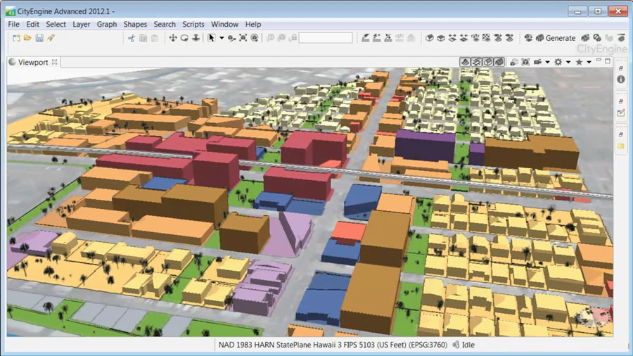 A potential area of densification around a light rail stop, rendered from a 2D zoning change map created in ArcGIS.