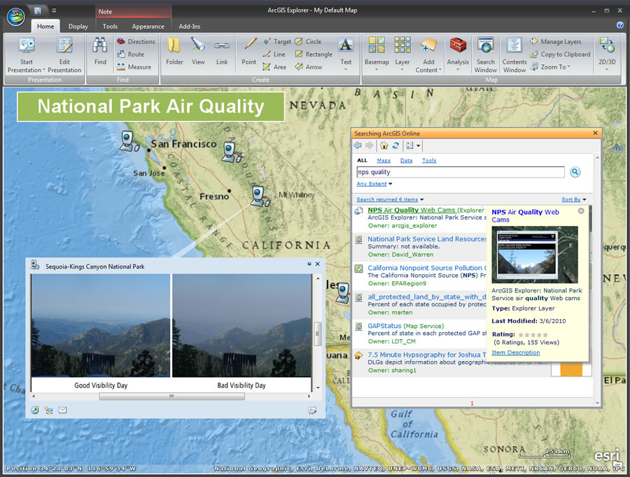 Easily search for ArcGIS Online content and add it to your ArcGIS Explorer Desktop projects.
