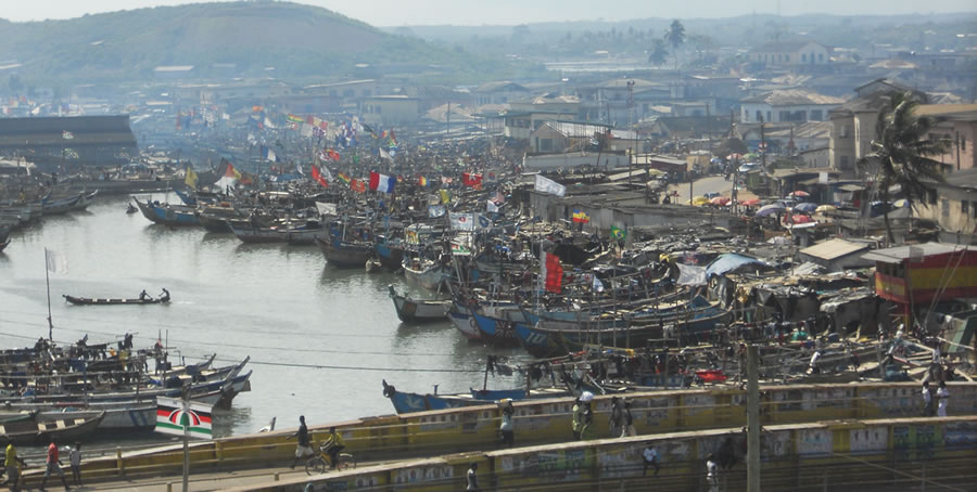 Fishing is a major industry in Elmina.