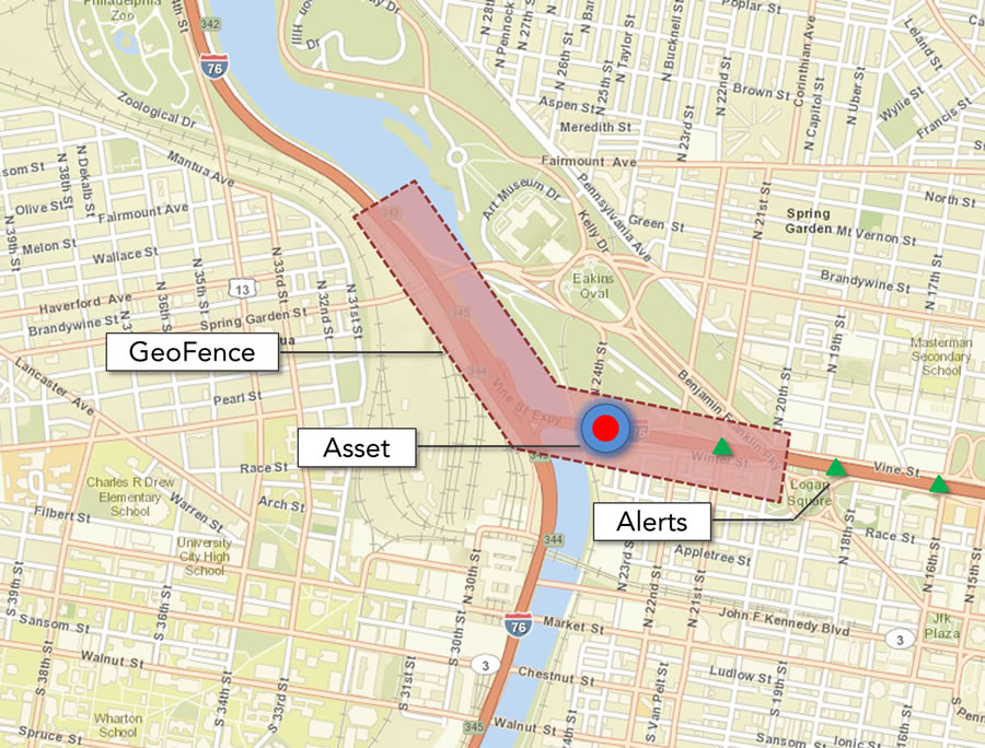 Monitor assets such as a vehicle passing through a defined area in real time with GeoEvent Processor for Server.