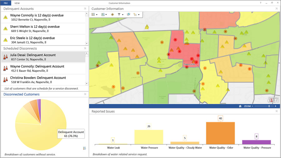 Live maps and metrics are displayed in the Operations Dashboard for ArcGIS.