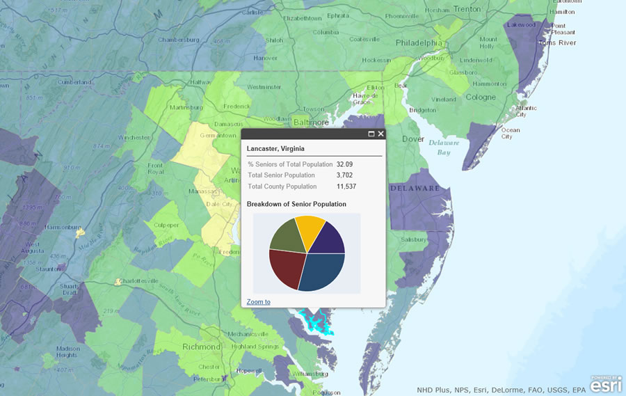 Government agencies and businesses can map Esri data to see where high percentages of senior citizens live such as in Lancaster County, Virginia.