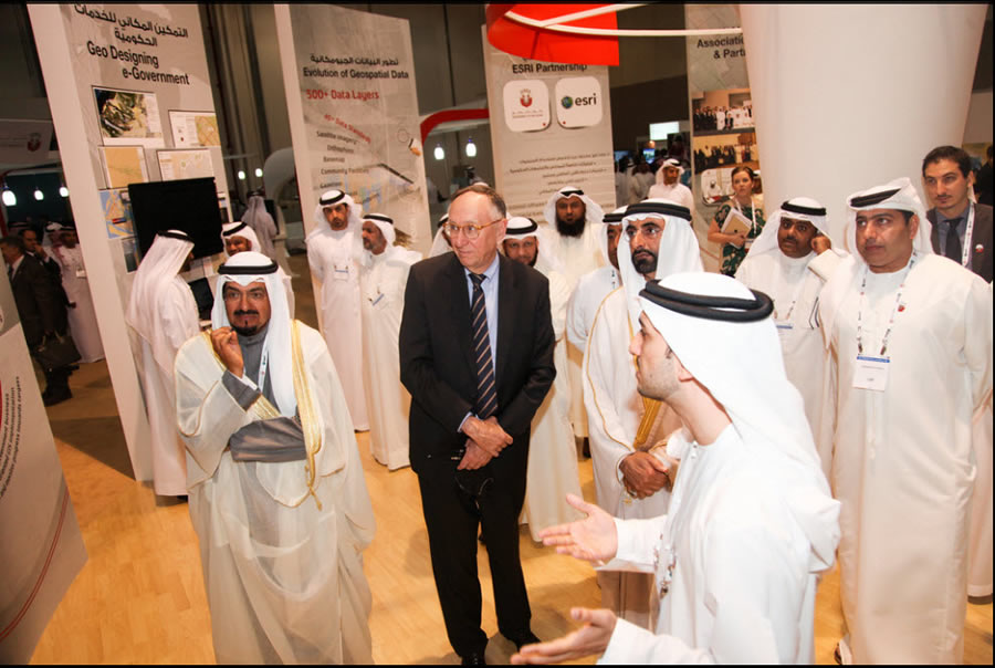Esri president Jack Dangermond visits the Map Gallery at last year's Esri Middle East and Africa User Conference in Abu Dhabi, United Arab Emirates.