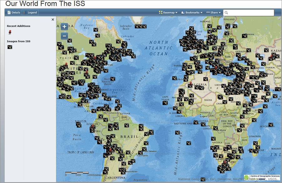 The Our World from the ISS app includes more than 950 photographs.