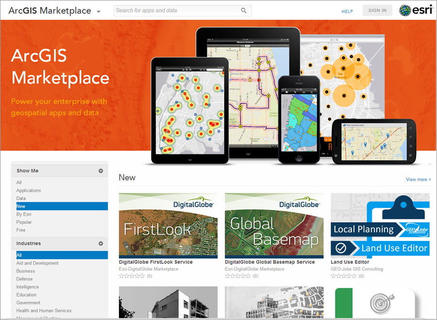 Browse for apps and data in the ArcGIS Marketplace.