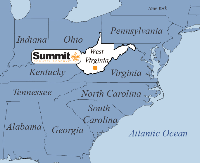 Summit Bechtel Reserve is located in the Appalachian Mountains.