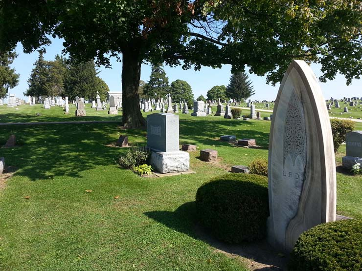 This oval-shaped gravestone was one of several unique headstones in East Side Cemetery that was mapped. Photo by Troy Maggied.