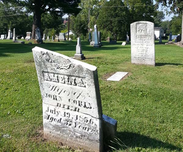 This tombstone, dated 1856, is one of the oldest in the cemetery. Photo by Troy Maggied.