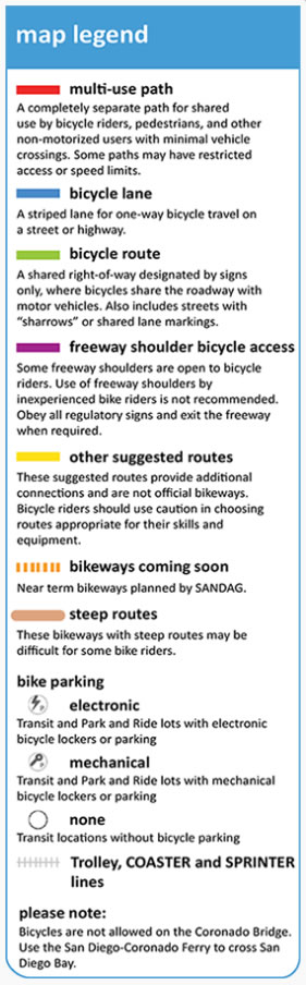 The map's legend gives you all the bike commuting symbols you need to know, including those that denote future bikeways and bike parking locations.