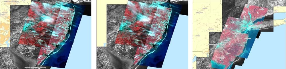 These images show flooding along the Connecticut River after Hurricane Irene. They were mosaicked and exported as a TIFF file in less than 20 minutes using GeoImaging Tools for ArcGIS. © CNES (2010) Distribution Astrium Services/Spot Image S.A., France. All rights reserved.