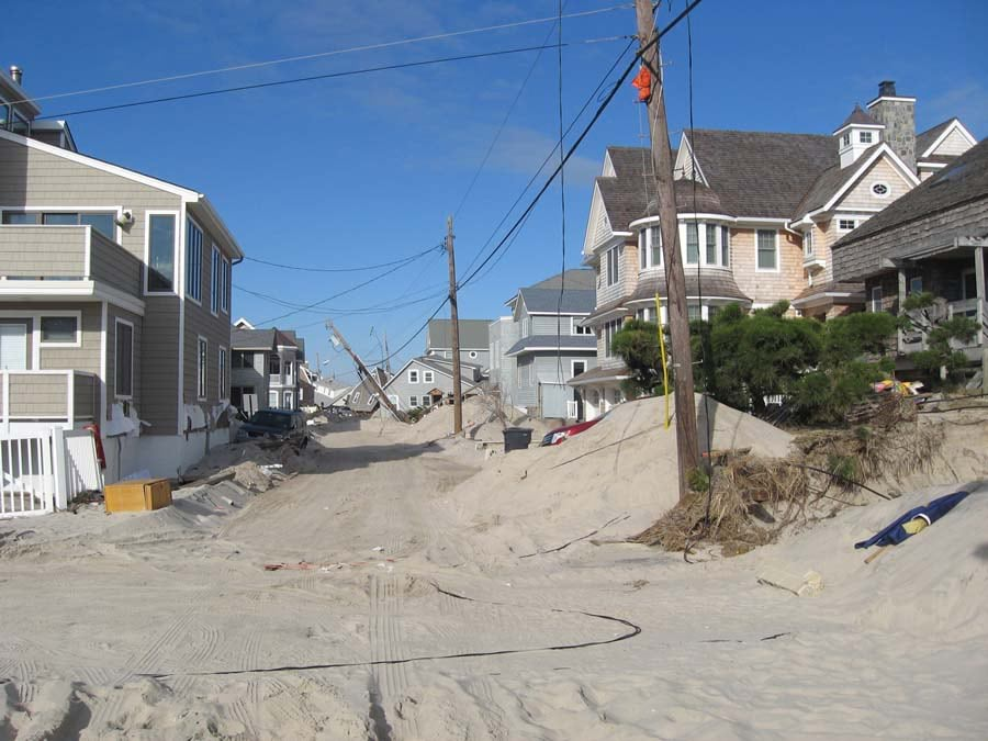 Superstorm Sandy damaged homes and downed power lines. Photo courtesy of Toms River MUA.