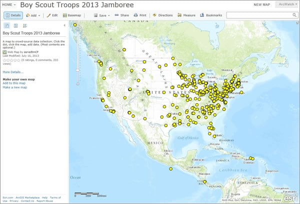 Boy Scouts used this app to search for their hometowns and add the community and information such as their troop numbers to the map.