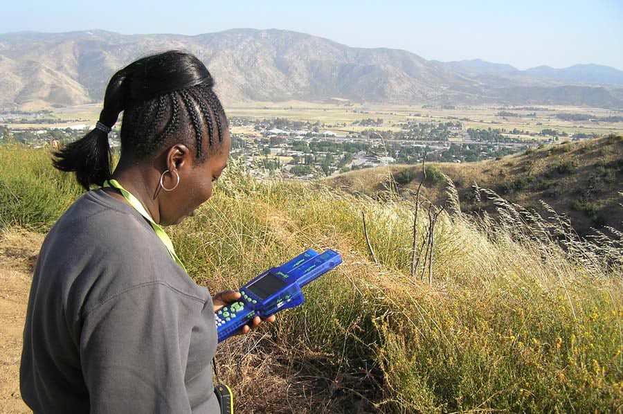 Careers in geospatial technology sometimes involve collecting data in the field.