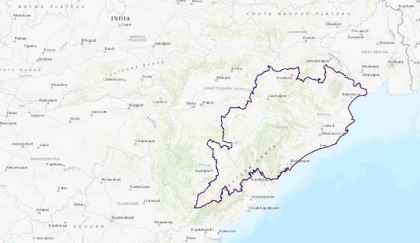 Map highlighting State of Odisha