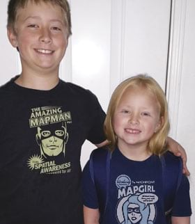 Cameron and Brooklyn Conner versed in geography wear their Esri T-shirts