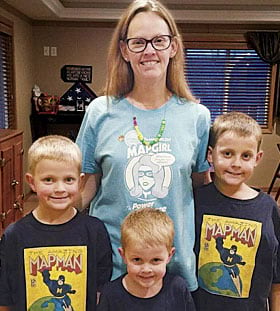Heidi Jerke and her three boys get ready for GIS Day