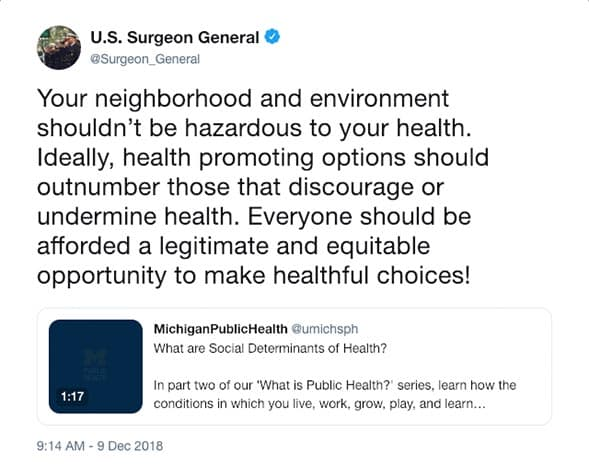 Surgeon General's tweet on health and location