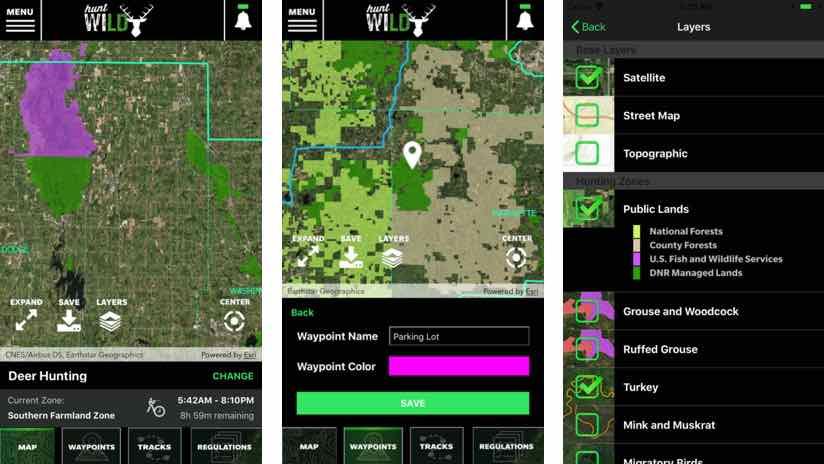 Hunt wild wisconsin map screens
