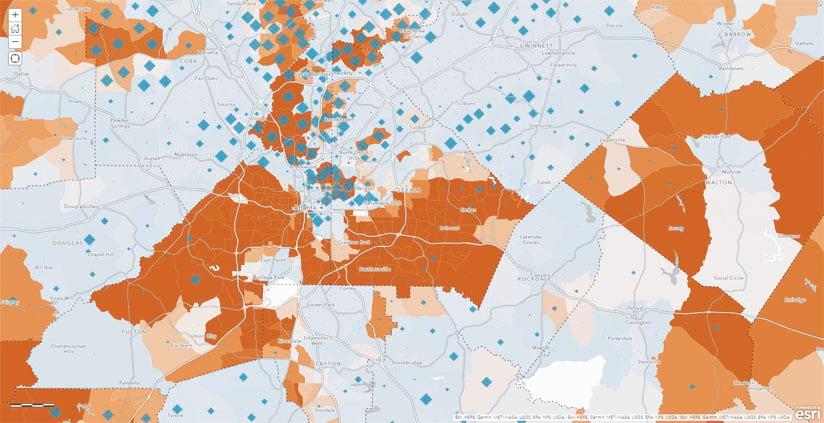 Income levels in Atlanta