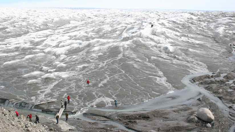 Greenland visitors on the ice
