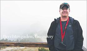 Dan Seidensticker, a GIS specialist wears an Esri T-shirt and cap in Berchtesgaden, Germany