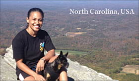 Gwen Ford, transportation GIS analyst enjoys the view from the top of Moore Knob