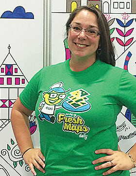 Lindsay Spencer modeled her Fresh Maps T-shirt