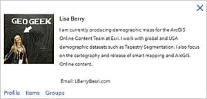 Lisa Berry produces maps for the ArcGIS online content team at Esri