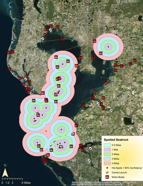 A map of fishing hot spots in Tampa Bay, FL