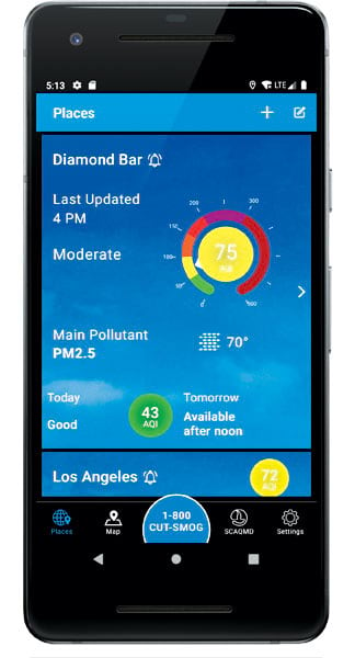 Air quality indicators for Diamond Bar, CA, shown on an Android smartphone