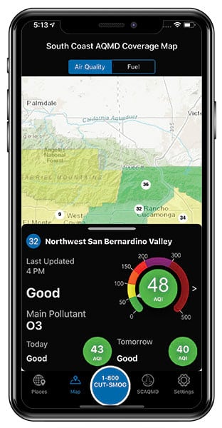 Air quality indicators and a map for San Bernardino, CA, shown on an iPhone
